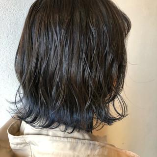 ネイビーカラー ボブ コリアンネイビー インナーカラー ヘアスタイルや髪型の写真・画像