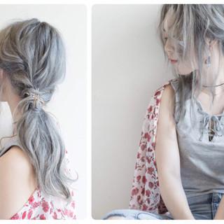 アッシュ ヘアアレンジ 外国人風 簡単ヘアアレンジ ヘアスタイルや髪型の写真・画像