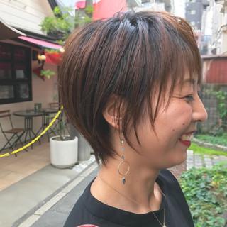 パーマ ショートバング ショートボブ 小顔ショート ヘアスタイルや髪型の写真・画像