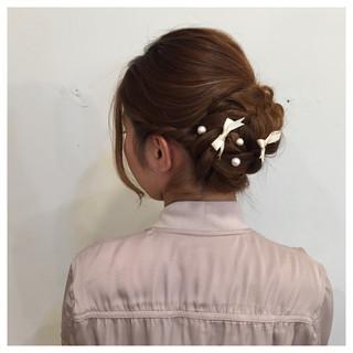 編み込み 大人かわいい ねじり アップスタイル ヘアスタイルや髪型の写真・画像