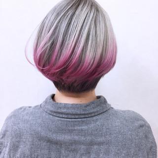 ハイトーン ショート ピンク グラデーションカラー ヘアスタイルや髪型の写真・画像
