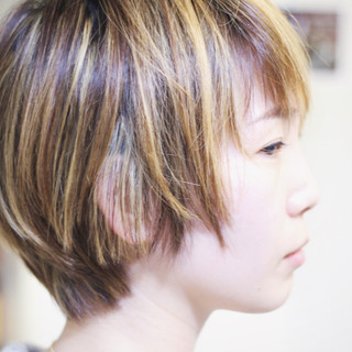 3Dハイライト ナチュラル ハイライト コントラストハイライト ヘアスタイルや髪型の写真・画像