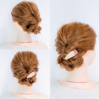 アップスタイル セルフアレンジ ロング くるりんぱ ヘアスタイルや髪型の写真・画像