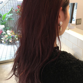 ピンクパープル セミロング ナチュラル 暖色 ヘアスタイルや髪型の写真・画像