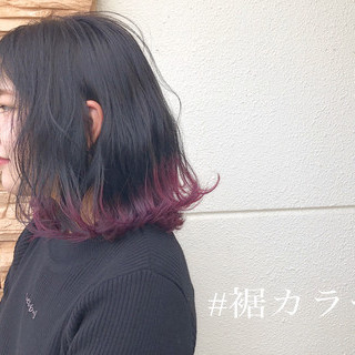 裾カラー ボブ グラデーションカラー レッドカラー ヘアスタイルや髪型の写真・画像