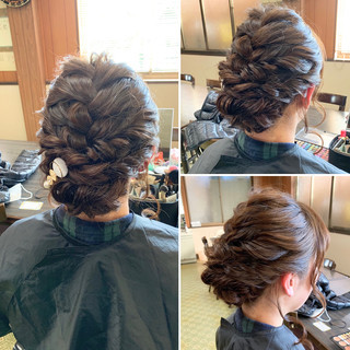 ヘアアレンジ ミディアム アップスタイル エレガント ヘアスタイルや髪型の写真・画像