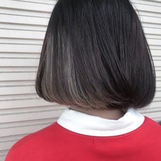 モード ボブ ハイトーン インナーカラー ヘアスタイルや髪型の写真・画像