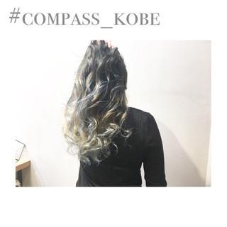 モード 外国人風カラー セミロング アッシュベージュ ヘアスタイルや髪型の写真・画像