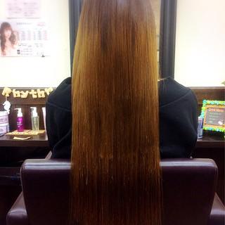 エクステ ストレート ロング ナチュラル ヘアスタイルや髪型の写真・画像