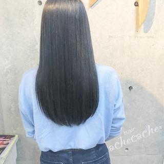 暗髪 モード ネイビー ロング ヘアスタイルや髪型の写真・画像 ヘアスタイルや髪型の写真・画像