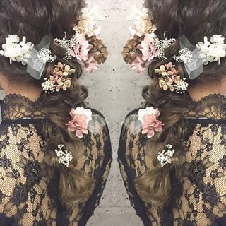 編み込み ブライダル アップスタイル 三つ編み ヘアスタイルや髪型の写真・画像