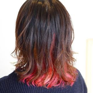 ストリート ガーリー レッド インナーカラー ヘアスタイルや髪型の写真・画像