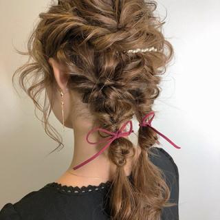 くるりんぱ ナチュラル 編み込み ヘアアレンジ ヘアスタイルや髪型の写真・画像