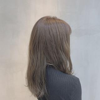 ハニーベージュ 外国人風カラー グレージュ ミディアム ヘアスタイルや髪型の写真・画像