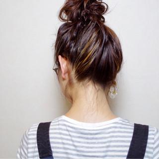 ロング 外国人風 お団子 簡単 ヘアスタイルや髪型の写真・画像