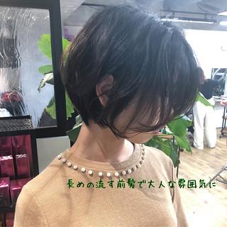 ショートボブ 黒髪 ストレート 縮毛矯正 ヘアスタイルや髪型の写真・画像