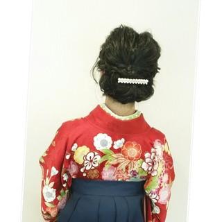 学校 ミディアム 謝恩会 袴 ヘアスタイルや髪型の写真・画像
