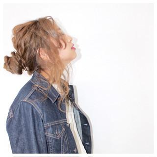 ゆるふわ 簡単ヘアアレンジ 大人かわいい お団子 ヘアスタイルや髪型の写真・画像