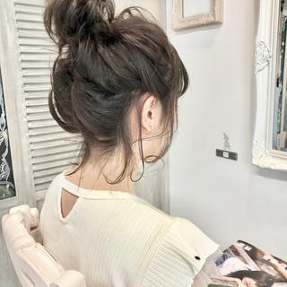 簡単ヘアアレンジ アウトドア ミディアム ナチュラル ヘアスタイルや髪型の写真・画像