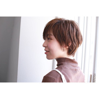 かっこいい ショート レザーカット ショートボブ ヘアスタイルや髪型の写真・画像