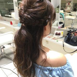 ハーフアップ くるりんぱ 簡単ヘアアレンジ セミロング ヘアスタイルや髪型の写真・画像 ヘアスタイルや髪型の写真・画像