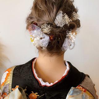 エレガント 成人式 簡単ヘアアレンジ ボブ ヘアスタイルや髪型の写真・画像