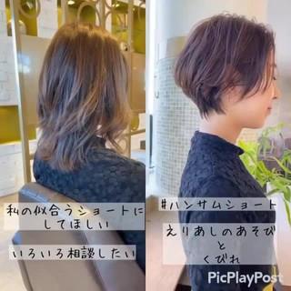 ショート ベリーショート 切りっぱなしボブ ミニボブ ヘアスタイルや髪型の写真・画像