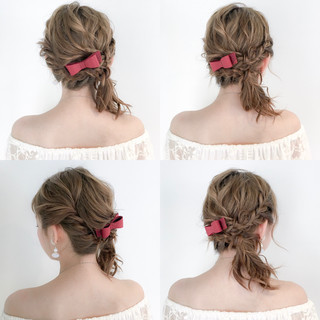 セミロング アウトドア 女子会 フェミニン ヘアスタイルや髪型の写真・画像