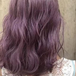 ラベンダー ラベンダーアッシュ 外国人風カラー セミロング ヘアスタイルや髪型の写真・画像