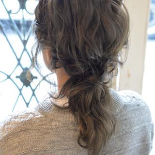 ハーフアップ ゆるふわ 暗髪 ミディアム ヘアスタイルや髪型の写真・画像 ヘアスタイルや髪型の写真・画像