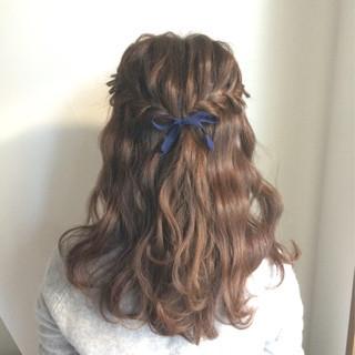大人かわいい セミロング 結婚式 花 ヘアスタイルや髪型の写真・画像