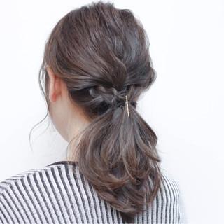 セミロング ショート ナチュラル 簡単ヘアアレンジ ヘアスタイルや髪型の写真・画像