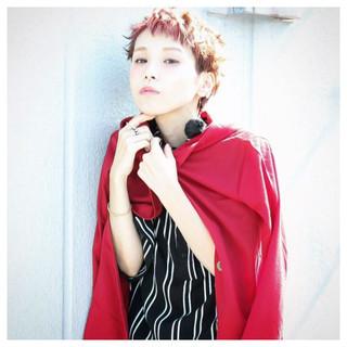 ガーリー オレンジ 外国人風 グラデーションカラー ヘアスタイルや髪型の写真・画像