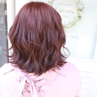 ボブ グラデーションカラー レッド フェミニン ヘアスタイルや髪型の写真・画像