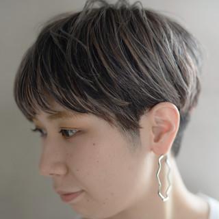 マッシュ ストリート ハイライト ベリーショート ヘアスタイルや髪型の写真・画像