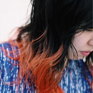 グラデーションカラー オレンジ イエロー ストリート ヘアスタイルや髪型の写真・画像