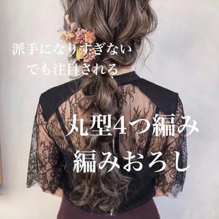 編みおろしヘア 編みおろし フェミニン ロング ヘアスタイルや髪型の写真・画像