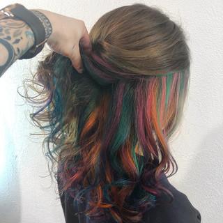 モード 個性的 カラフルカラー ハイライト ヘアスタイルや髪型の写真・画像 ヘアスタイルや髪型の写真・画像