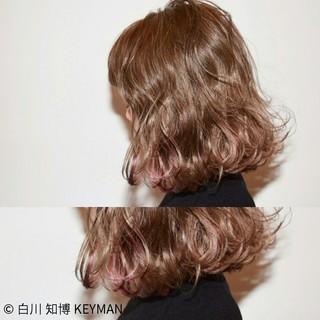 ニュアンス ボブ ミルクティー フリンジバング ヘアスタイルや髪型の写真・画像