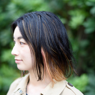 外ハネ 大人ハイライト ミディアム モード ヘアスタイルや髪型の写真・画像