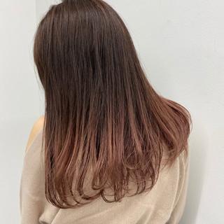 ピンクブラウン デート ナチュラル ロング ヘアスタイルや髪型の写真・画像