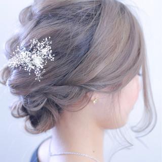 上品 グレーアッシュ 結婚式 エレガント ヘアスタイルや髪型の写真・画像 ヘアスタイルや髪型の写真・画像