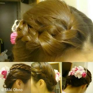 お祭り 三つ編み ヘアアレンジ 花火大会 ヘアスタイルや髪型の写真・画像