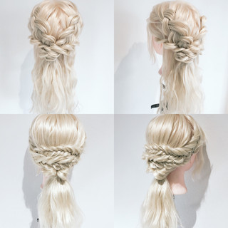 フィッシュボーン フェミニン セミロング 簡単ヘアアレンジ ヘアスタイルや髪型の写真・画像