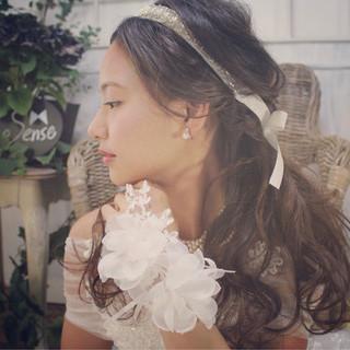 ブライダル 結婚式 ヘアアレンジ フェミニン ヘアスタイルや髪型の写真・画像