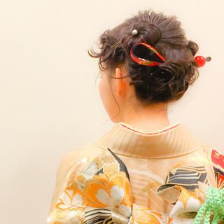 パーティ ミディアム 着物 ヘアアレンジ ヘアスタイルや髪型の写真・画像