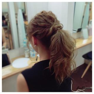 ヘアアレンジ 編み込み ポニーテール アップスタイル ヘアスタイルや髪型の写真・画像