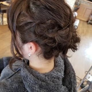 三つ編み ヘアアレンジ アップスタイル 上品 ヘアスタイルや髪型の写真・画像