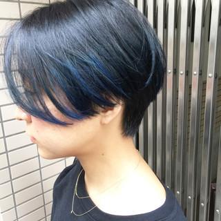 ビビッドカラー 抜け感 グラデーションカラー ボブ ヘアスタイルや髪型の写真・画像