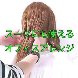 三つ編み 簡単ヘアアレンジ オフィス エレガント ヘアスタイルや髪型の写真・画像